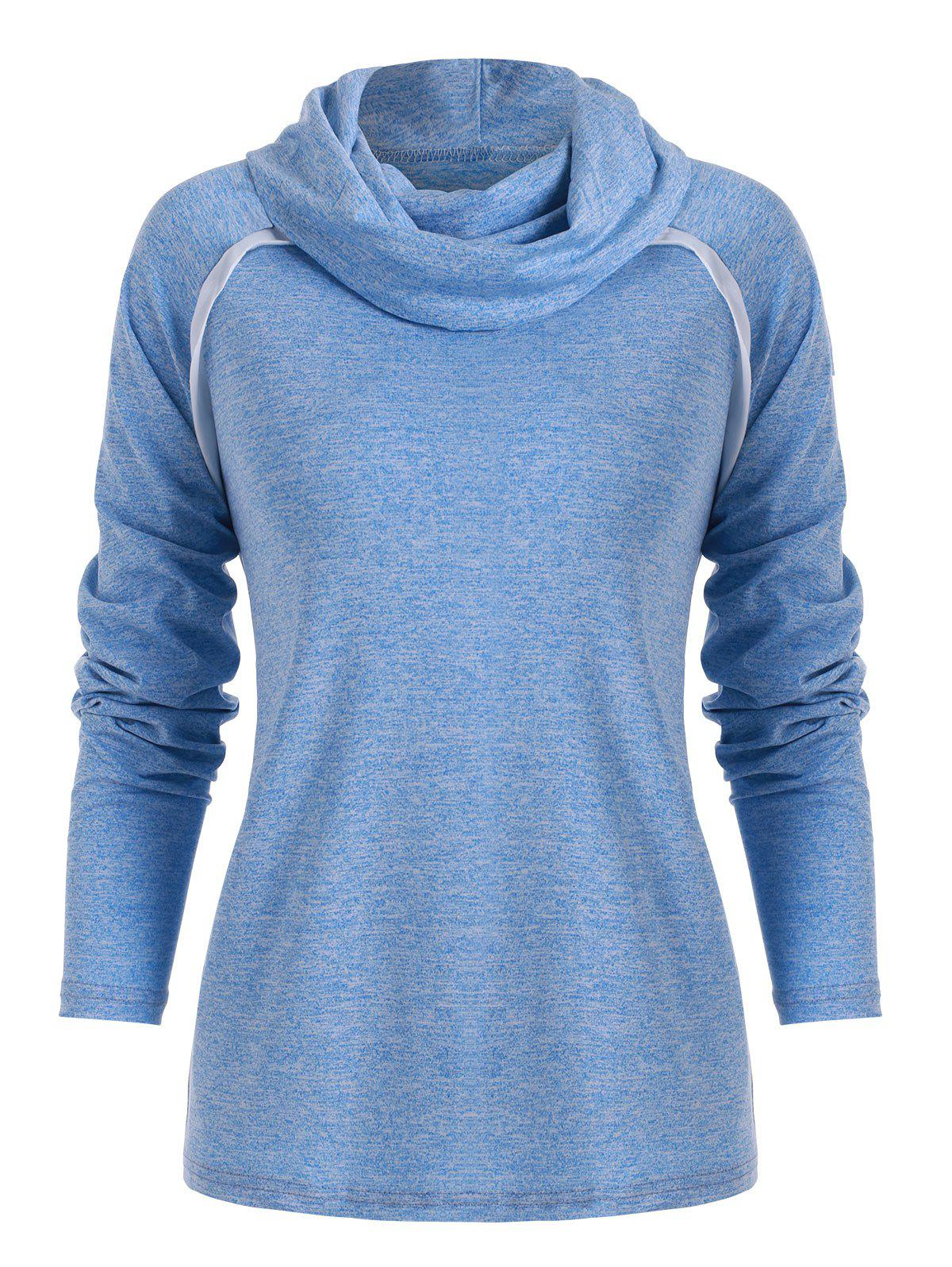 Fancy Cowl Neck Contrast Color Marled T Shirt