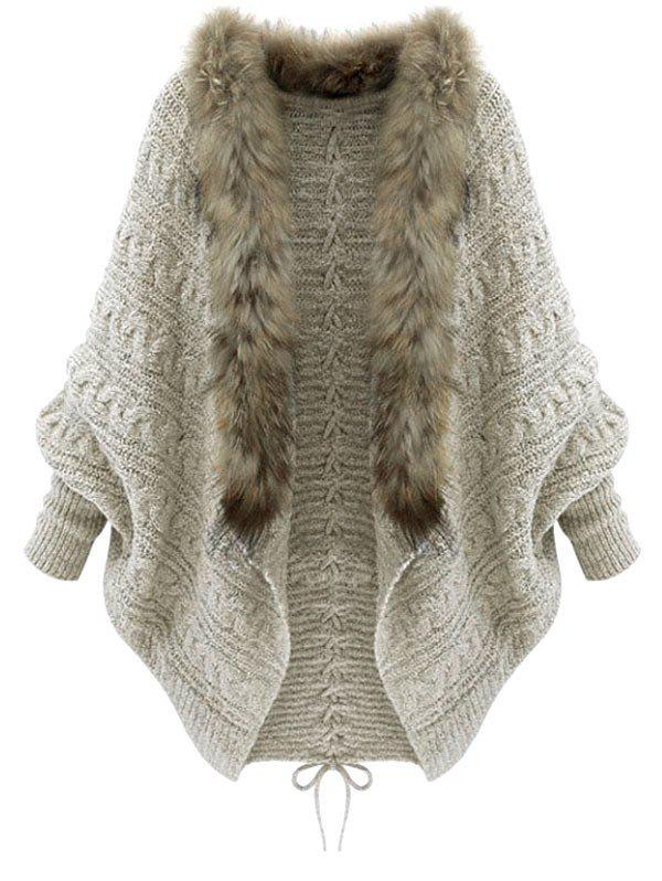 Unique Faux Fur Batwing Sleeve Open Front Cardigan