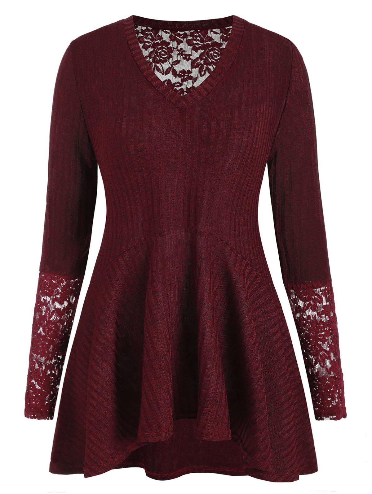 Cheap Plus Size Lace Panel Ribbed Tunic Knitwear