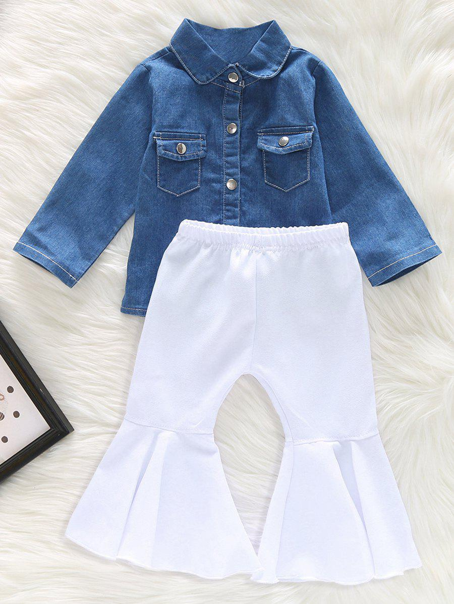 Outfits Denim Shirt and Flared Pants Set