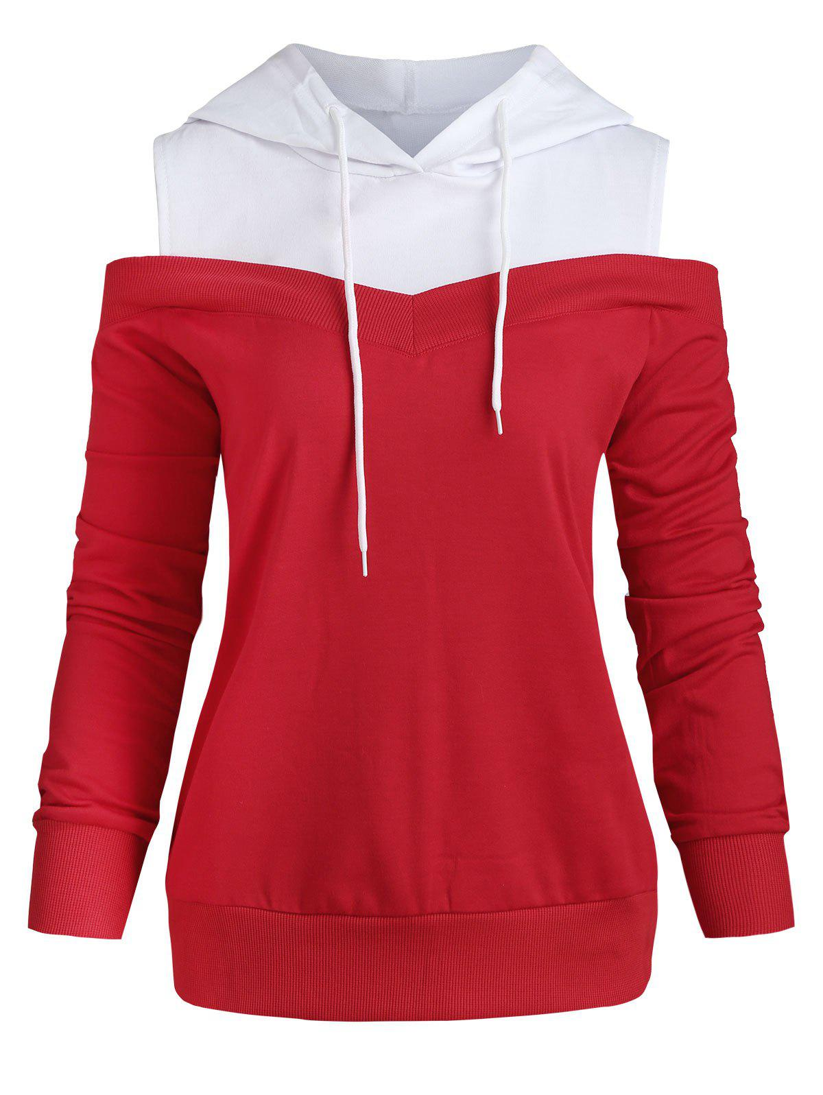 Sale Cold Shoulder Two Tone Drawstring Hoodie