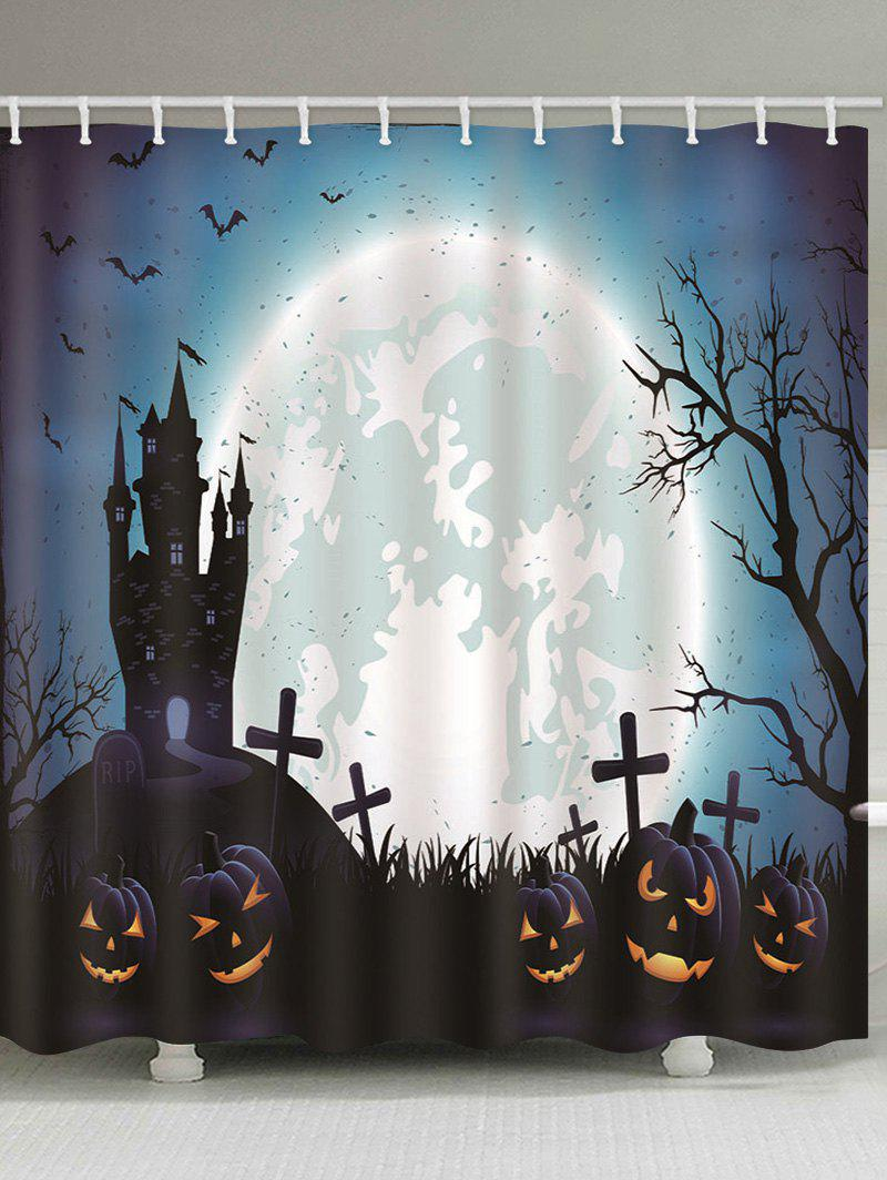 Hot Halloween Castle Cemetery Pumpkin Print Waterproof Bathroom Shower Curtain