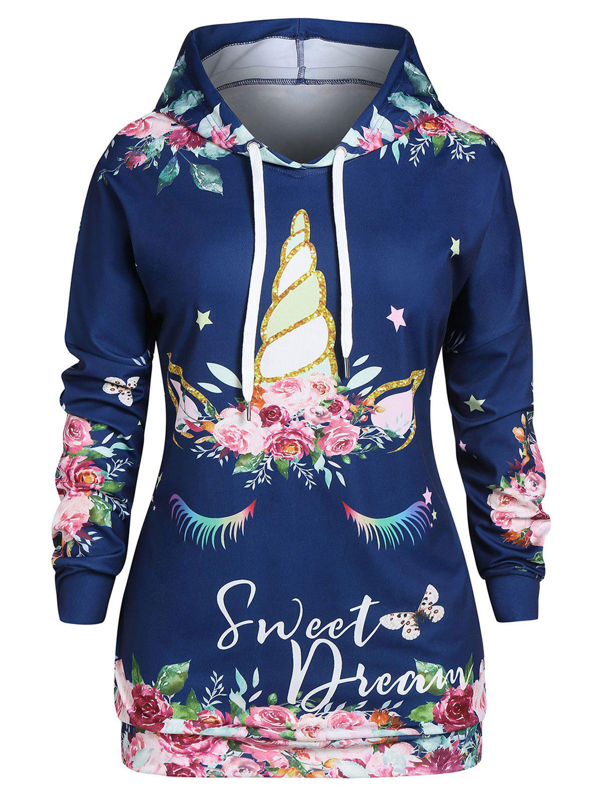 Fancy Plus Size Flower Print Drop Shoulder Drawstring Tunic Hoodie