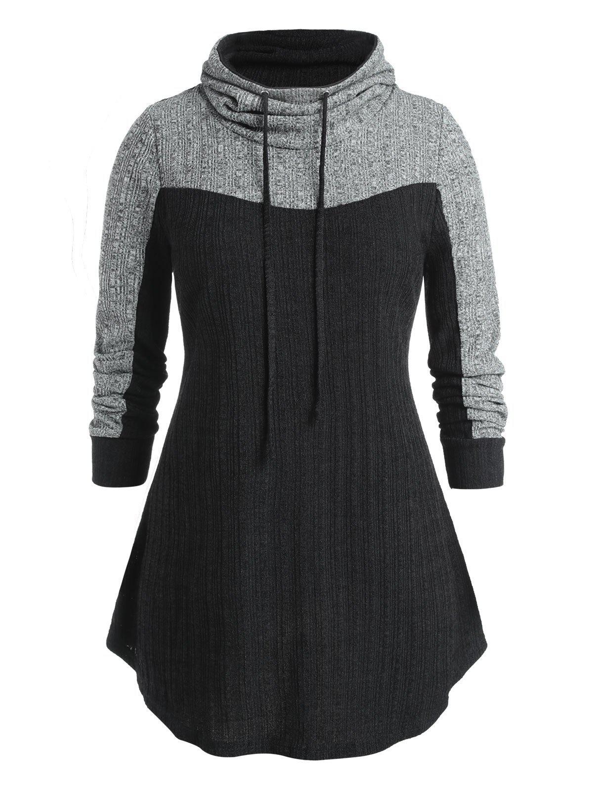 Outfit Plus Size Contrast Long Sleeve High Neck Sweatshirt