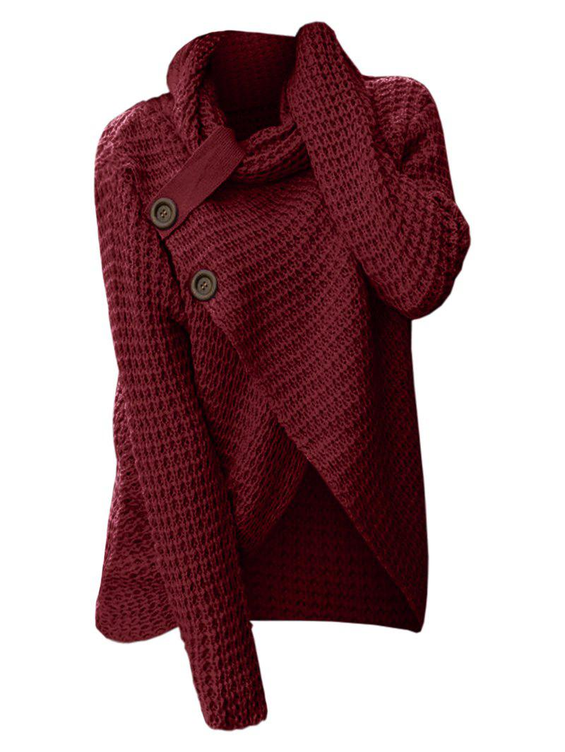 Store Plus Size Cowl Neck Buttons Surplice Chunky Sweater
