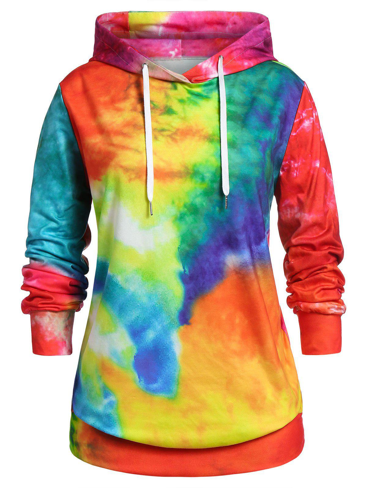 New Plus Size Tie Dye Pullover Hoodie