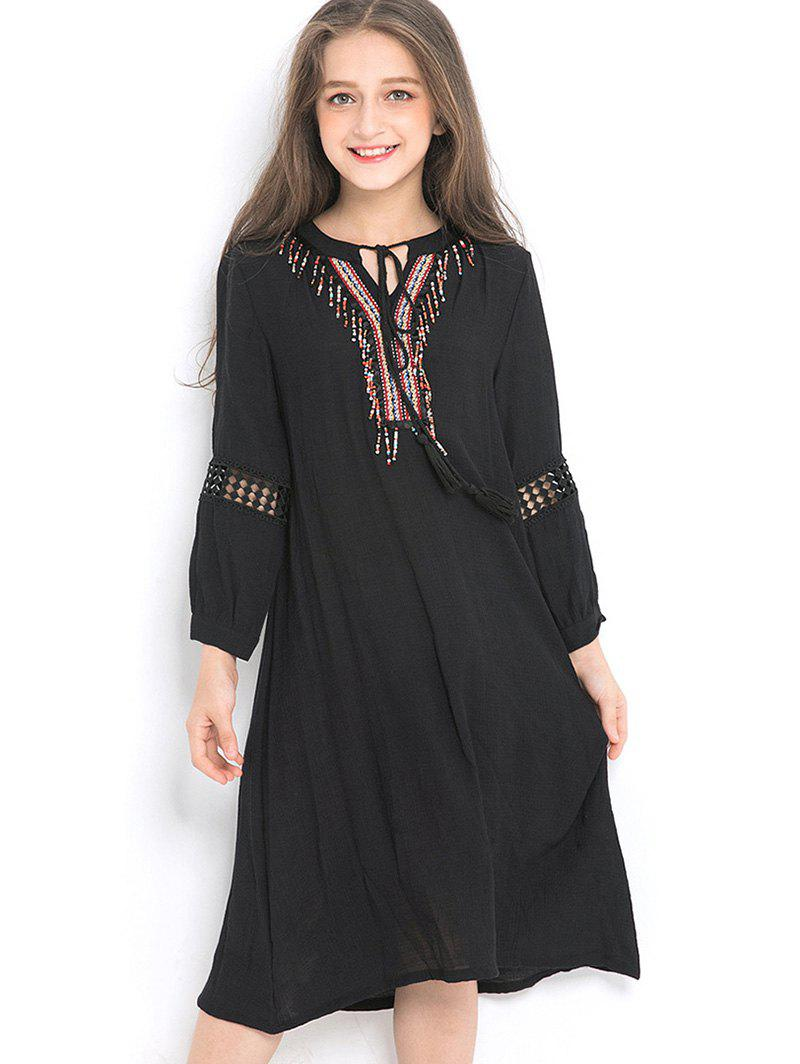 Fashion Girls Ethnic Tie Collar Long Sleeve Flowing Dress