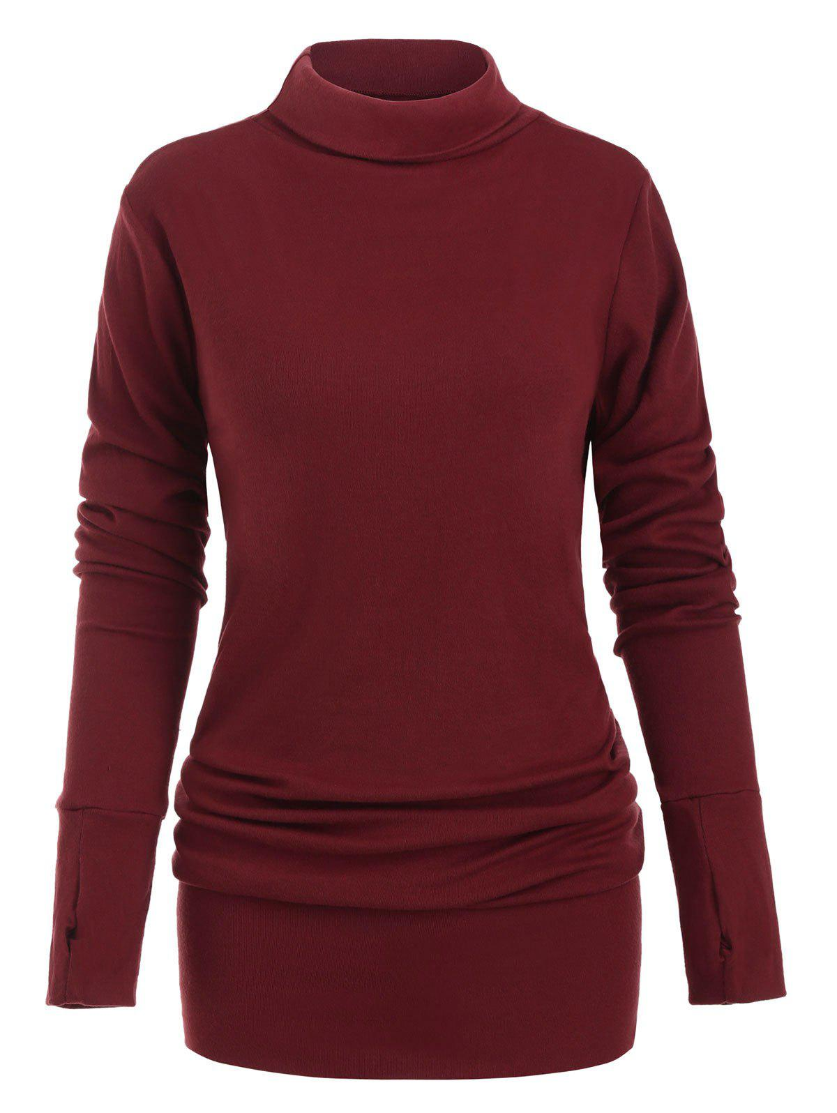 Buy Turtleneck Long Sleeves Solid Shift Dress