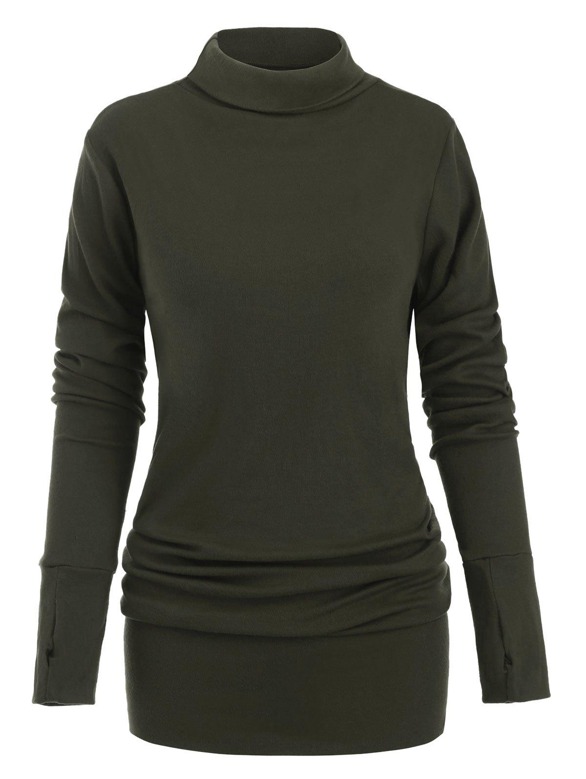 Chic Turtleneck Long Sleeves Solid Shift Dress