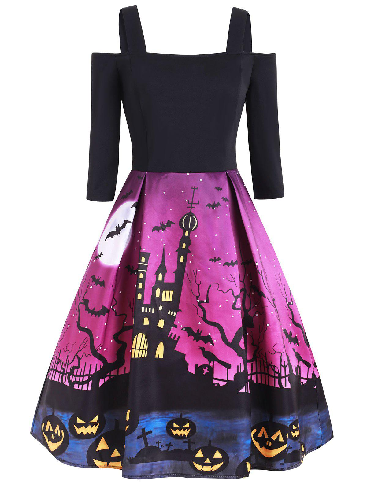 Affordable Halloween Pumpkin Castle Print Open Shoulder Dress