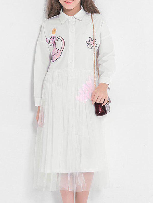 Online Sequins Cat Pattern Long Sleeves Shirt Tulle Dress