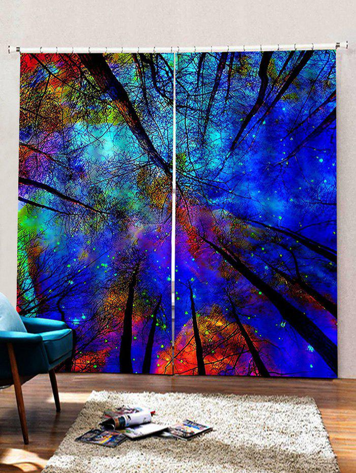 Affordable 2 Panels Forest Galaxy Sky Print Window Curtains