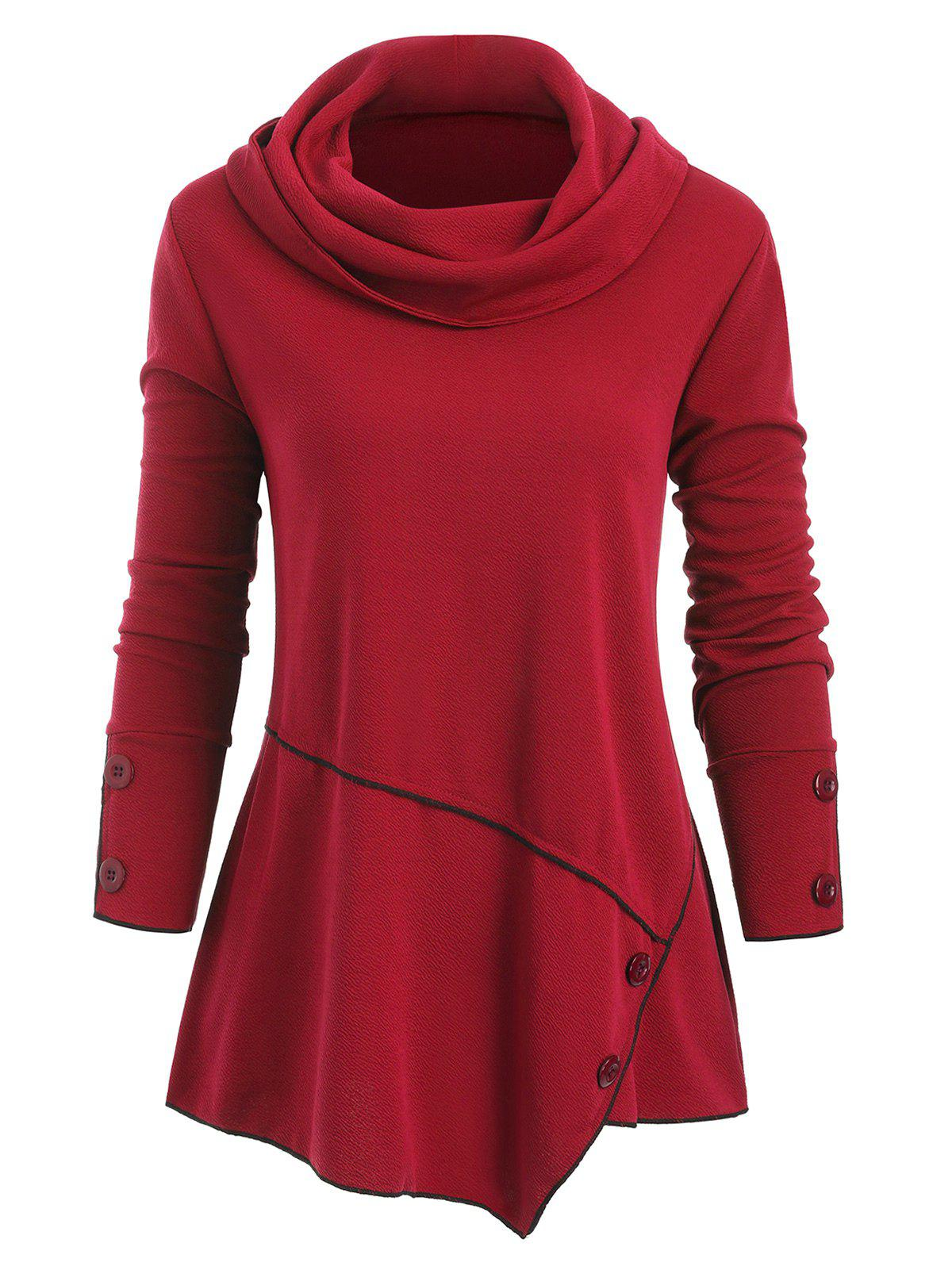 Cheap Cowl Neck Buttons Long Sleeves Top