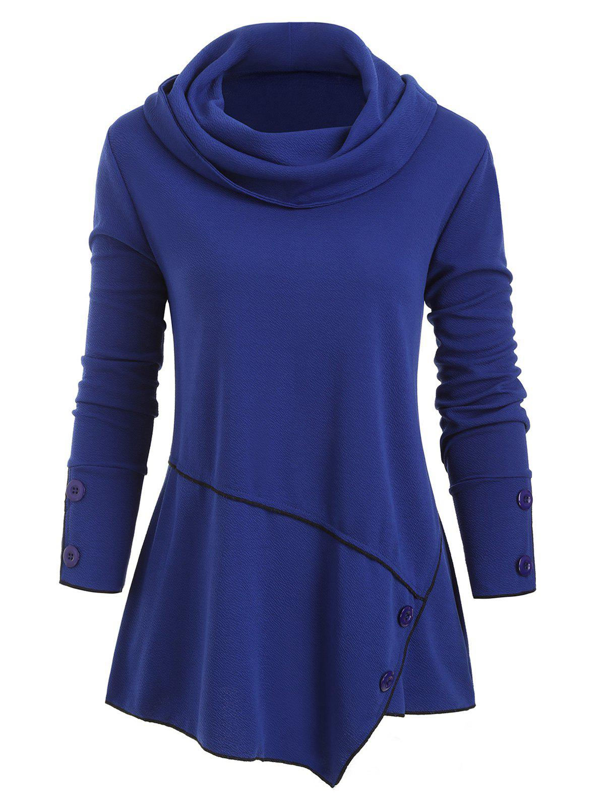 Online Cowl Neck Buttons Long Sleeves Top