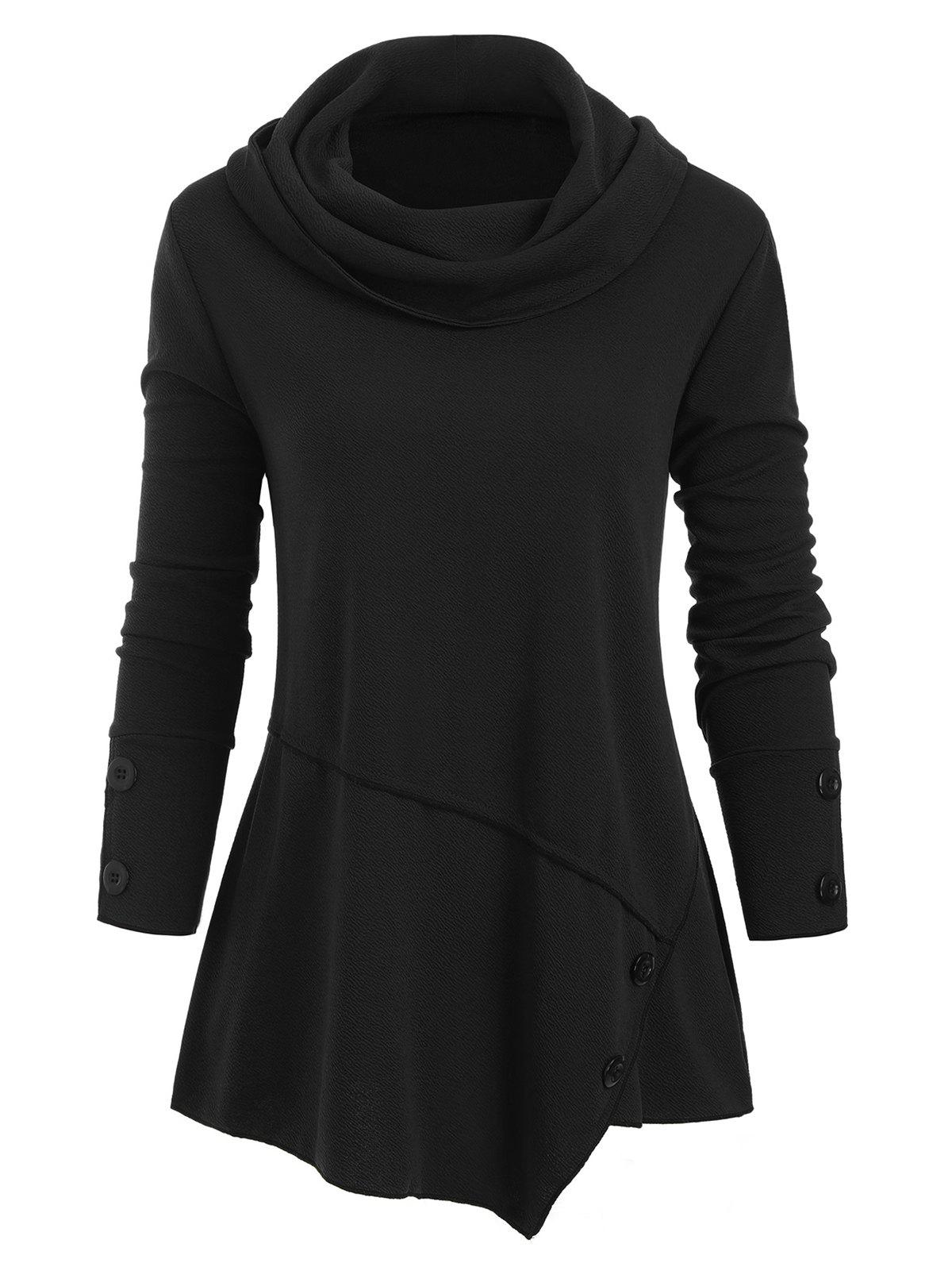 Unique Cowl Neck Buttons Long Sleeves Top