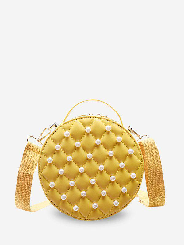 Unique Faux Pearl Quilted Crossbody Bag