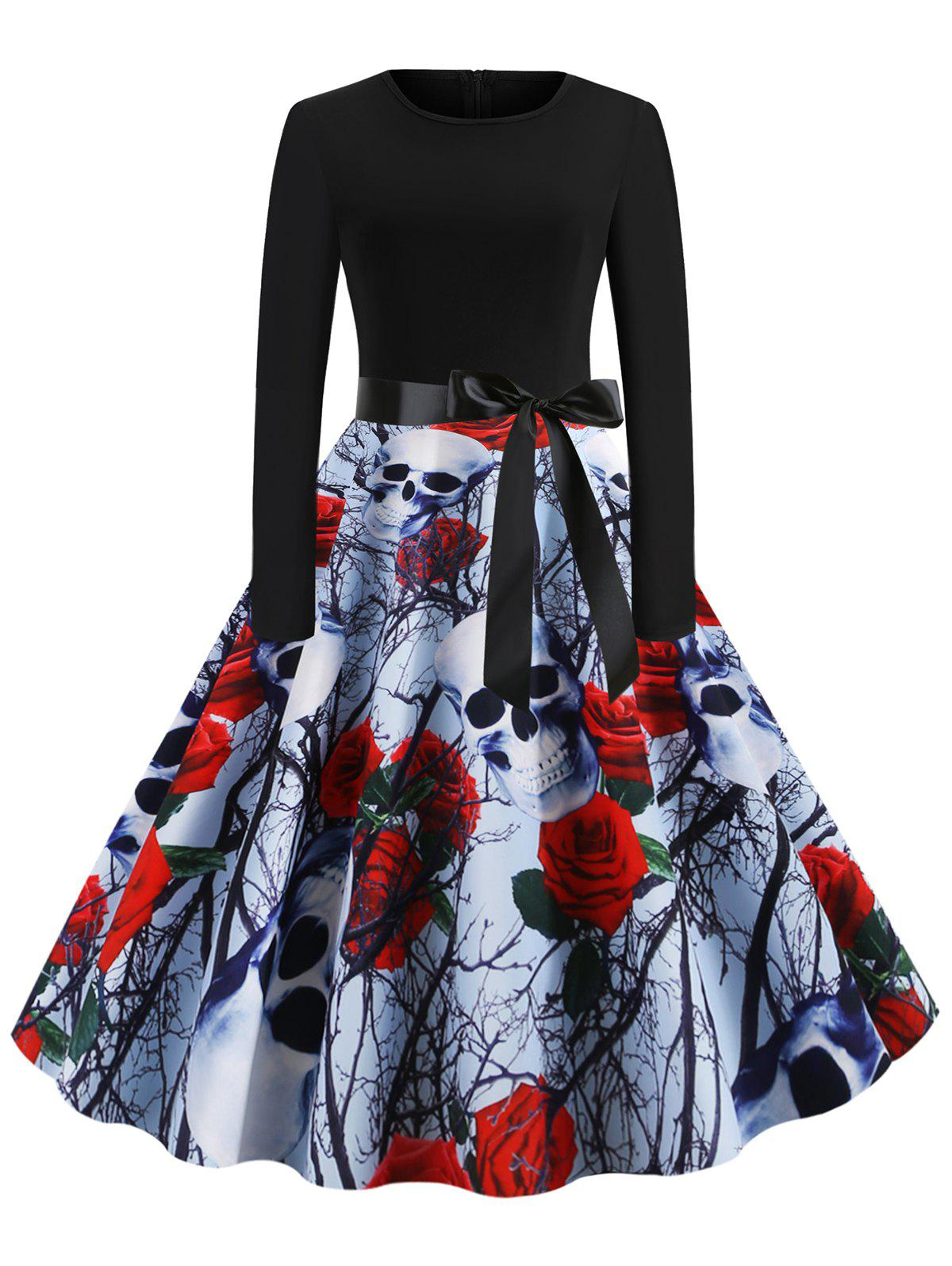 Trendy Halloween Skull Floral Print Party Flare Dress
