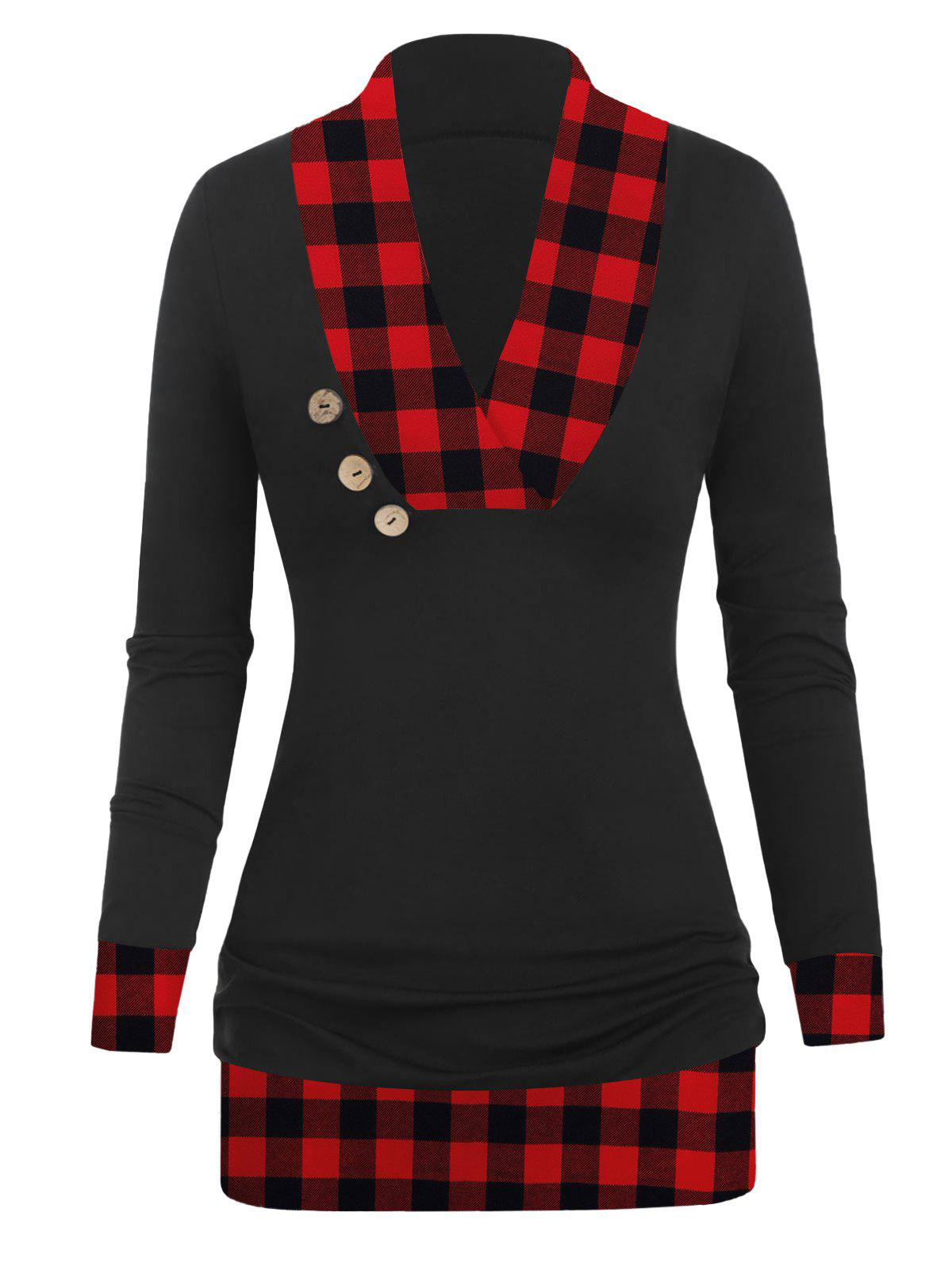 Discount V Neck Plaid Panel Ruched T Shirt