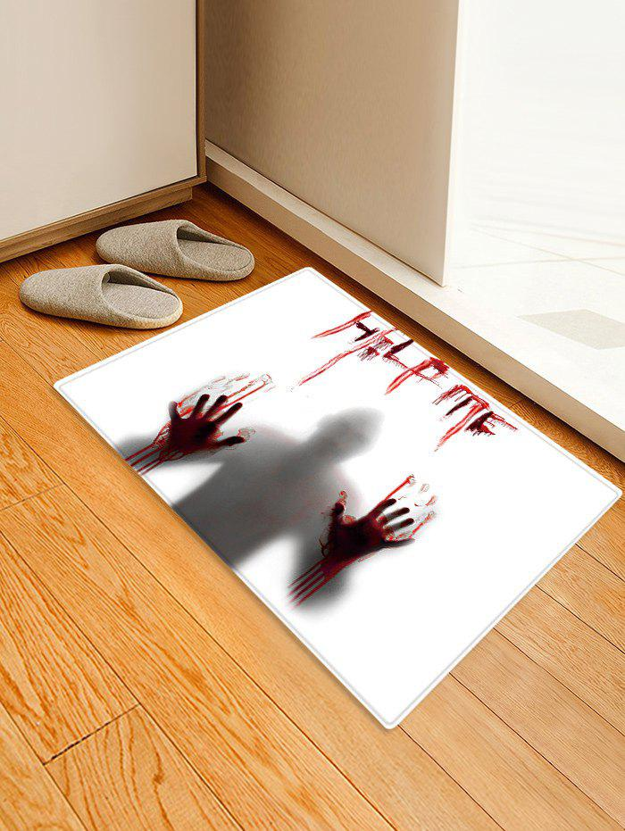 Shop Halloween Ghost Bloody Hand Letters Pattern Water Absorption Area Rug