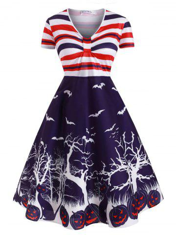 Stripes Pumpkin Bat Print Halloween Plus Size Dress - PURPLE - 5X