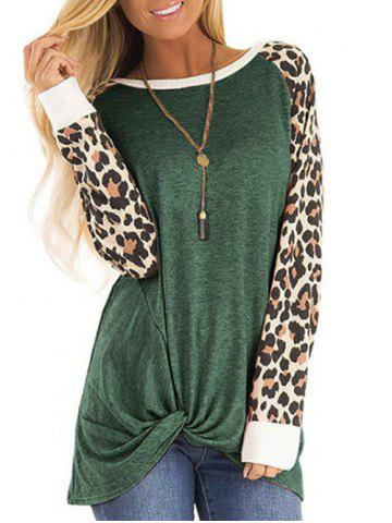 Leopard Panel Raglan Sleeve Twist Top