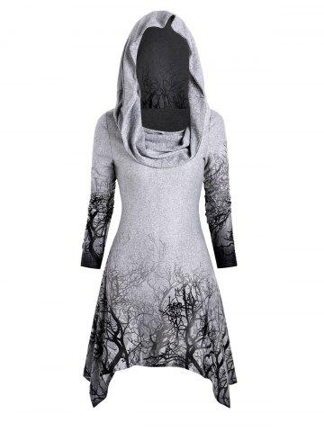 Halloween Tree Print Convertible Collar Longline Knitwear