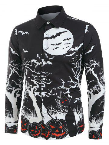 Halloween Night Pumpkins Print Long Sleeve Button Up Shirt - BLACK - S