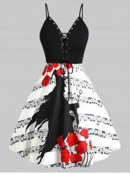 Plus Size Lace-up Musical Note Witch Print Halloween Dress -