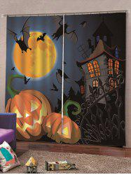 2PCS Halloween Pumpkin Bat Castle Pattern Window Curtains -