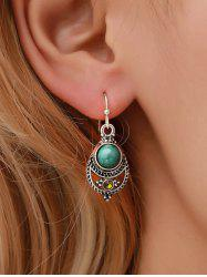 Vintage Faux Turquoise Carved Teardrop Hook Earrings -