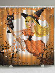 Halloween Witch Cat Pattern Shower Curtain -