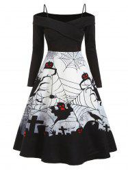 Halloween Spider Net Ghost Open Shoulder Dress -