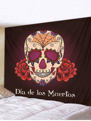 Halloween Skull Flower Printed Pattern Tapestry -
