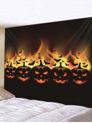 Halloween Pumpkin Bats Printed Pattern Tapestry -