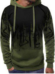 Abstract Gradient Painted Front Pocket Drawstring Hoodie -
