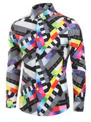Colorful Patchwork Print Long Sleeve Button Up Shirt -