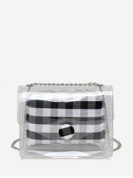 2 in 1 Transparent Plaid Print Chain Crossbody Bag -