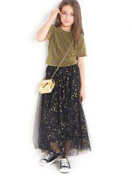 Shiny T-Shirt and Star Pattern Tulle Skirt Set -