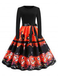 Belted Cat Pumpkin Print Long Sleeve Halloween Dress -