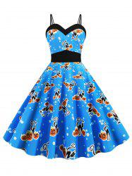 Dual Strap Cat Pumpkin Print Sleeveless Halloween Dress -