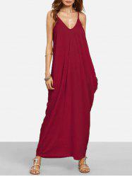 Baggy Side Pocket Floor Length Cami Dress -