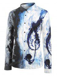 Plus Size Ink Music Notes Print Button Up Long Sleeve Festival Shirt -
