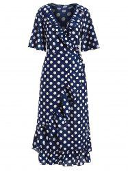 Dotted Ruffle Midi Wrap Dress -