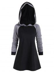Color Block Raglan Sleeves Casual Hoodie -