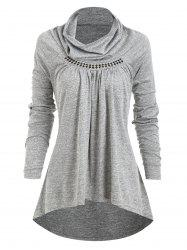 Rhinestones Cowl Neck Ruched Heathered Tee -