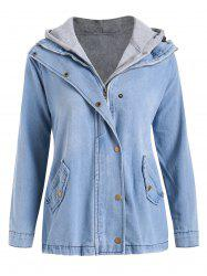Zip Up Denim Jacket with Hooded Top -