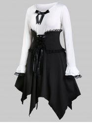Plus Size Handkerchief Two Tone Dress With Lace Up Corset Belt -