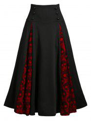 Halloween Skull Lace Insert Mock Button Lace-up Skirt -