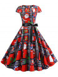 Plaid Santa Claus Gift Print Christmas Fit and Flare Dress -