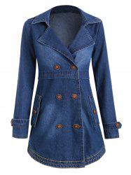 Buttons Embellished Lapel Denim Coat with Pockets -